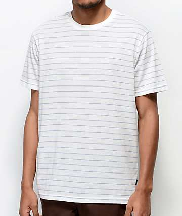 RVCA Rundown White & Blue Striped Knit T-Shirt