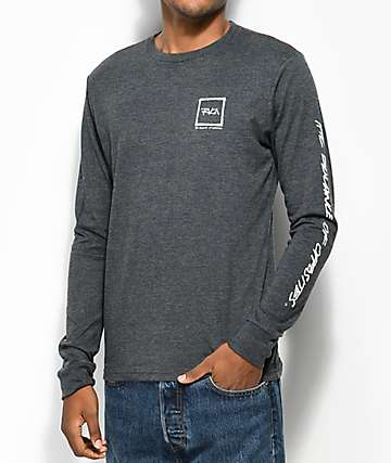 RVCA Scrawl Charcoal Long Sleeve T-Shirt