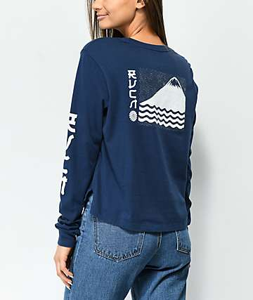 RVCA Sea Mount Navy Long Sleeve T-Shirt