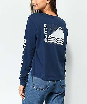 RVCA Sea Mount Navy Long Sleeve T-Shirt