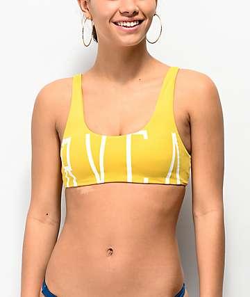 RVCA Solid Crop Top Mustard Bikini Top