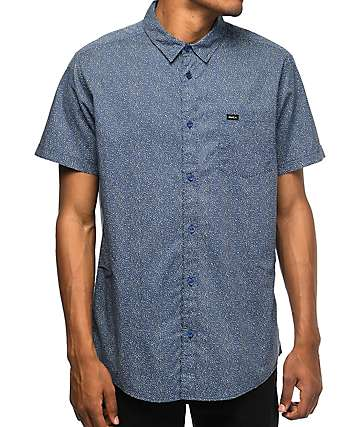 RVCA Speckles Navy & White Dot Short Sleeve Button Up Shirt