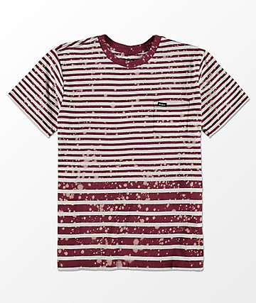 RVCA Splash camiseta a rayas con bolsillo para niños en color borgoño y blanco