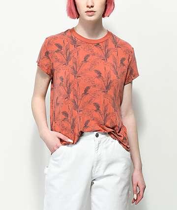 RVCA Suspension camiseta roja con estampado de palmeras