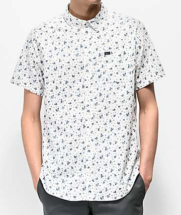 RVCA That'll Do Printed White Short Sleeve Button Up Shirt