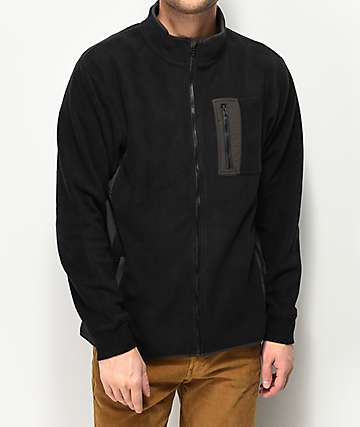 RVCA Theros Black Zip Crew Neck Fleece Jacket