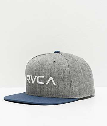 RVCA Twill Grey & Blue Snapback Hat