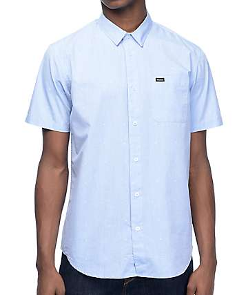 RVCA VA Dobby Light Blue Short Sleeve Button Up Shirt
