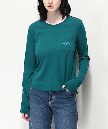 RVCA VA Spray camiseta verde de manga larga