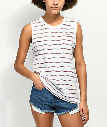 RVCA VA White Stripe Muscle Tank Top