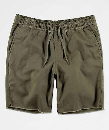 RVCA Weekend Elastic Waist Olive Chino Shorts