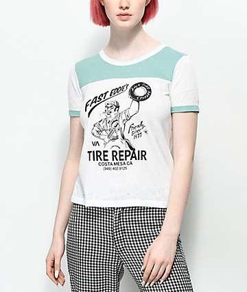 RVCA Worlds Fastest Vintage White Ringer T-Shirt
