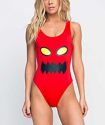 RVCA x Toy Machine Red One Piece Swimsuit