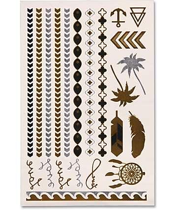 Rad Tatz Metallic Palm & Feathers Temporary Tattoos