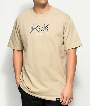 Rat Boy Scum Checkered Filled Logo camiseta en color arena