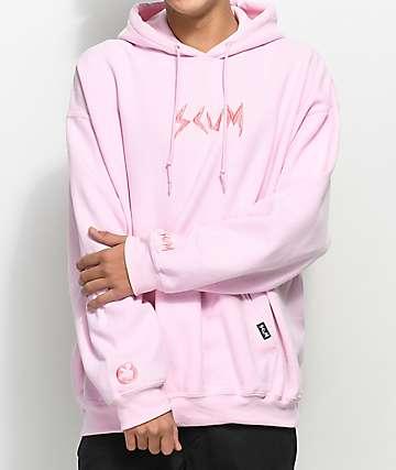 Rat Boy Scum sudadera rosa con capucha y bordado