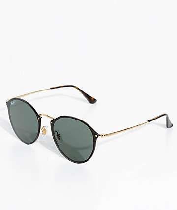 Ray-Ban Blaze Black & Gold Round Sunglasses
