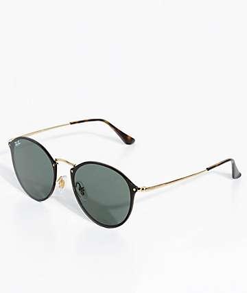 Ray-Ban Blaze Black & Gold Round Sunglasses