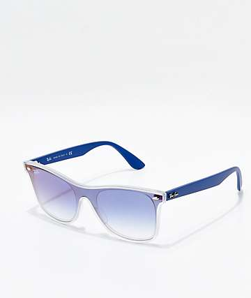 Ray-Ban Blaze Wayfarer Transparent Blue & Blue Gradient Mirror Polarized Sunglasses