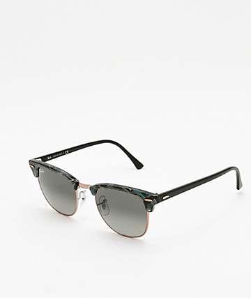 Ray-Ban Clubmaster gafas de sol grises y verdes con manchas