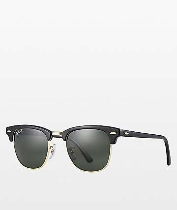 Ray-Ban Clubmaster gafas de sol polarizadas en negro y oro