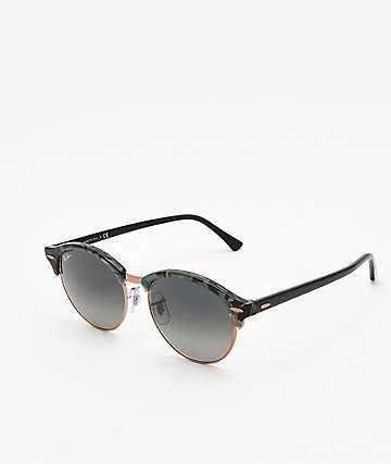 Ray-Ban Clubround gafas de sol grises y verdes con manchas