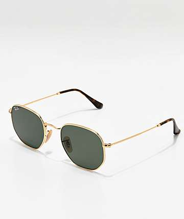 Ray-Ban Hexagonal Gold & Green Sunglasses