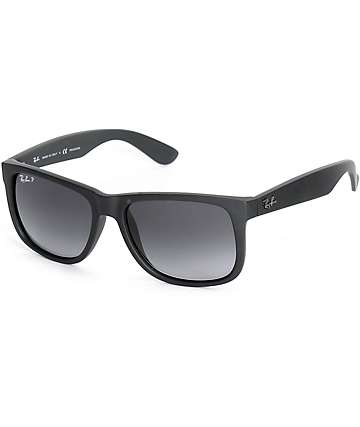 b68520385a9bb Ray-Ban Justin Black Rubber Polarized Sunglasses