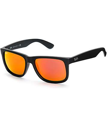 Ray-Ban Justin Matte Black Color Mix Red Sunglasses