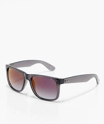 Ray-Ban Justin gafas de sol de espejo degradadas en gris y rojo
