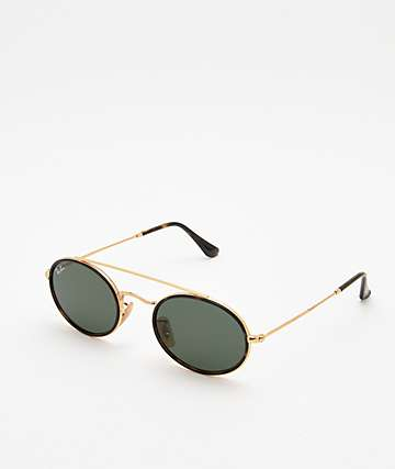 d5a16e6342 Ray-Ban RB3847N Oval Gold   Green Sunglasses