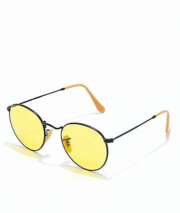 Ray-Ban Round Icon Evolve gafas de sol de metal en negro y color amarillo