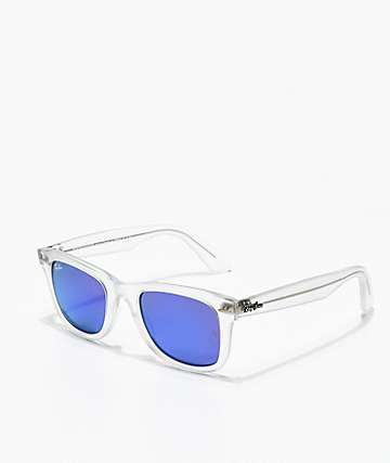 Ray-Ban Wayfarer Ease Transparent Violet Mirror Sunglasses