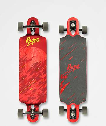 "Rayne Demonseed 36"" Double-Drop Through Wave Camo longboard completo en rojo"