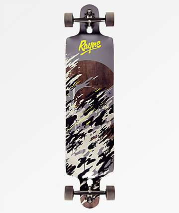 "Rayne Demonseed 42"" Double-Drop Through Black & White Wave Camo Longboard Complete"
