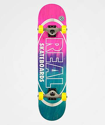 "Real Metallic Oval Fade 7.75"" Skateboard Complete"
