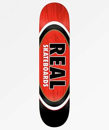 "Real Team Dual Ovals Red & Black 7.75"" Skateboard Deck"