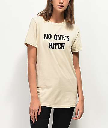 Rebel Soul No One's Bitch camiseta beige