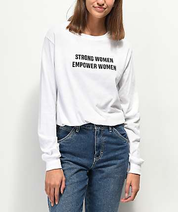 Rebel Soul Strong Women White Long Sleeve T-Shirt