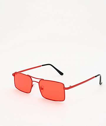 Rectangle All Red Aviator Sunglasses