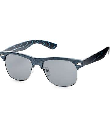 Retro Black & Blue Wood Sunglasses
