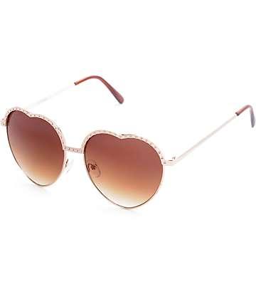 Retro Heart Gold Sunglasses
