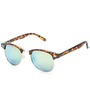 Retro Kruz gafas de sol de carey y turquesa espejado