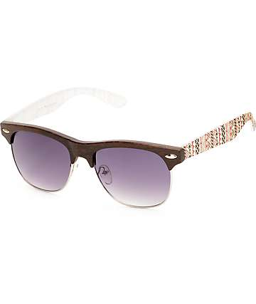 Retro Trail Blazer gafas de sol madera y borgoño