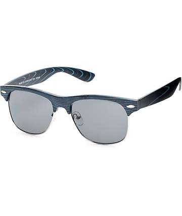 Retro gafas de sol de madera en negro y azul