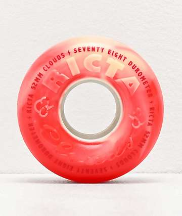 Ricta Clouds 52mm 78a Red & White Swirl Skateboard Wheels