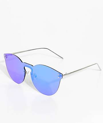 Rimless Green Mirrored Sunglasses