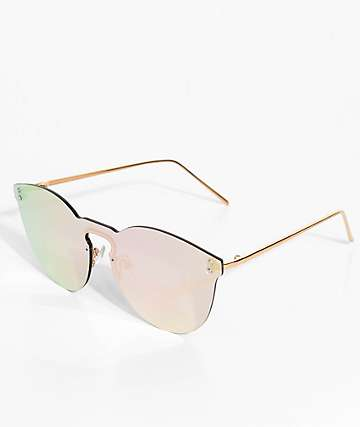 Rimless Rose Gold Mirrored Sunglasses