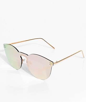 Rimless Rose Gold Mirrored Sunglasses