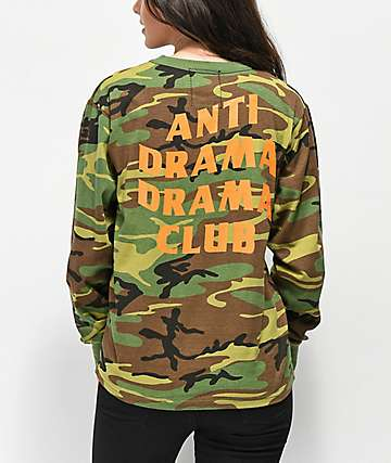 Riot Society Anti Drama Drama Club Camo Long Sleeve T-Shirt